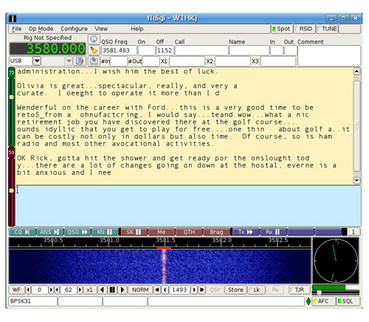 Screenshot eines PSK31-QSOs